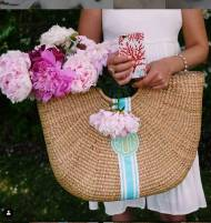 Monogrammed Florida Basket- XL Half Moon Basket- 20x19x6 Inches