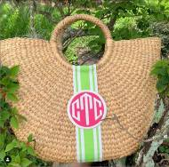 Monogrammed Florida Basket - Large Half Moon Basket- 14 X 15 X 5 Inches