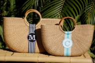 "Monogrammed Shorty Florida Basket 18"" Wide 13 "" Tall Incl. Handles 4.5"" Deep"