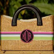 "Monogrammed Beverly Basket Large 12.5"" X 8"" X 3.5"""