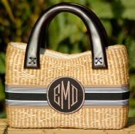 Monogrammed Small Beverly Florida Basket  7 X 10 X 2.5 Inches!