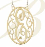 Monogrammed Oval Lace Pendent On A Split Chain- Rose Gold, Gold Filled Or Silver