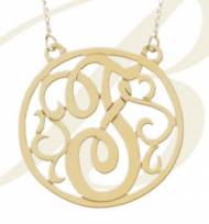 Round Monogrammed Lace Pendant In Four Sizes And Three Metal Choices