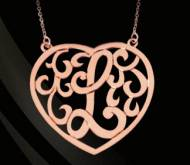 Heart Shaped Monogrammed Pendant  In Four Sizes Comes In Sterling Silver, Gold Plated Or 14K Gold