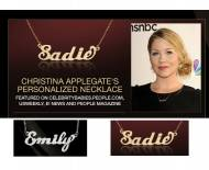 Christina Applegate Wears Personalized Name Necklace In Script On A Split 18 Inch Chain