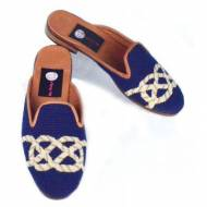 Discontinued - Needlepoint Nautical Knots On Navy Mules!