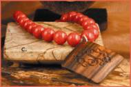 Red Jade Necklace With Diamond Monogrammed Wooden Pendant