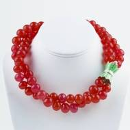 Double Strand Watermelon Bead Necklace With Green Enamel 18K Gold Filled Tulip Clasp