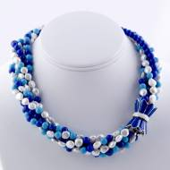 Six Strand Blue Stone And Pearl Necklace With Blue Enamel 18K Gold Filled Tulip Clasp The Lauren
