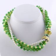 Four Strand Lemon Quartz, Green Stone Necklace With Yellow Enamel 18 K Gold Filled Tulip Clasp