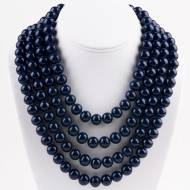 Four Strand Navy Quartz Necklace With Sterling Silver Toggle Clasp