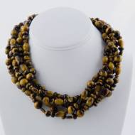 Five Strand Array Of Knotted And Facet Cut Tiger's Eye Bead Necklace With 18K Gold Filled Cartier Clasp