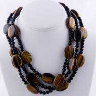 Three Strand Large Flat Oval Tigers Eye And Black Onyx Bead Necklace 18K Gold Filled Toggle Clasp
