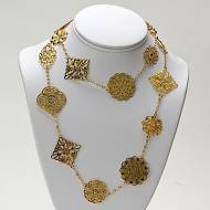44 Inch 18K Gold Filled Large Filigree Charm Necklace