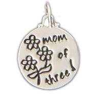 Silver Plated Charm - Mom Of Three - With Three Daisies
