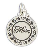 Silver Plated Charm - Mom With Hearts And Flowers Border