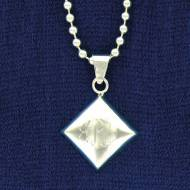 Silver Plated Diamond Pendant On A Ball Chain