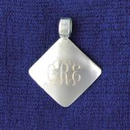 Monogrammed Diamond Shaped Silver Plated Pendant