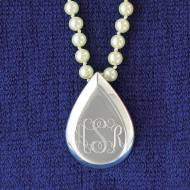 Monogrammed Silver Teardrop Pendant On Pearls