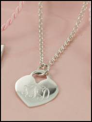 Monogrammed Heart Pendant On A 18 Inch Rolo Chain- All Sterling Silver