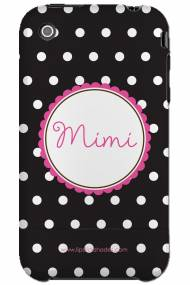Personalized Iphone Case Black Dot Pink Flower
