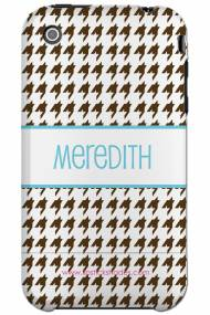 Personalized Iphone Case Chocolate Brown Houndstooth With Blue Lettering