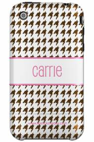 Personalized Iphone Case Chocolate Brown Houndstooth With Pink Lettering