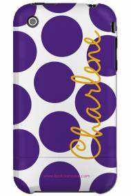 Personalized Iphone Case LSU Polka Dot Vertical