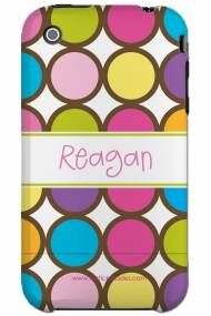 Personalized Iphone Case Chocolate Outlined Polka Dots