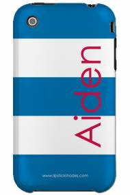 Personalized Iphone Case Nautical Blue Stripe Vertical