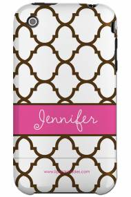 Personalized Iphone Case Chocolate And Pink Moroccan Pattern