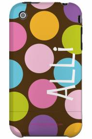 Personalized Iphone Case Chocolate Background Multi Polka Dot Verticle