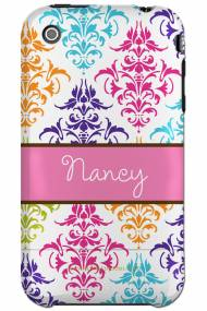 Personalized Iphone Case Multi Color Damask Pattern