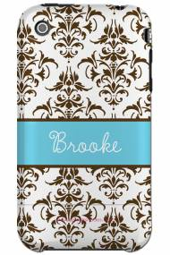 Personalized Iphone Case Chocolate Brown Damask Blue Pattern