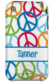 Personalized Iphone Case Multi Color Peace Sign Pattern For Boy