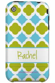 Personalized Iphone Case Blue And Lime Tiles Pattern