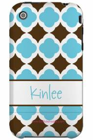 Personalized Iphone Case Chocolate And Blue Tiles Pattern