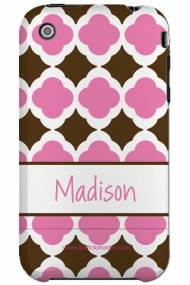 Personalized Iphone Case Chocolate And Pink Tiles Pattern
