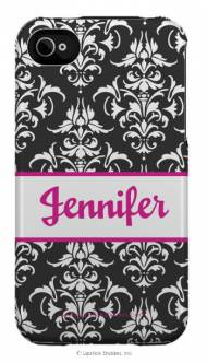 Personalized Iphone Case Reversed Black Damask Pattern