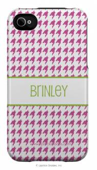 Personalized Iphone Case Pink Houndstooth Pattern