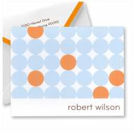 Embossed Graphics Personalized Stationery Orange And Blue Polka Dot Note Style