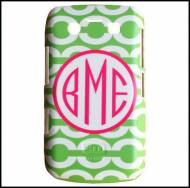 Green Chain With Hot Pink Hollow Circle Monogram Cell Phone Case!