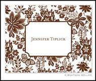 Classic Floral Brown Personalized Foldover Notes