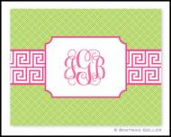 Pink Green Key Band Monogrammed Foldover Notes