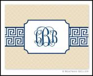 Navy Greek Key Band Monogrammed Foldover Notes