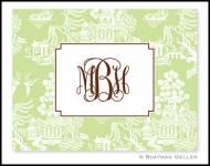 Chinoiserie Green Monogrammed Foldover Notes