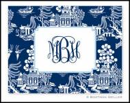 Chinoiserie Navy Monogrammed Foldover Notes