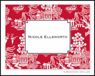 Chinoiserie Red Personalized Foldover Notes