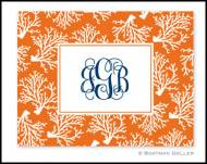 Coral Repeat Monogrammed Foldover Notes
