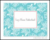 Coral Repeat Teal Personalized Foldover Notes
